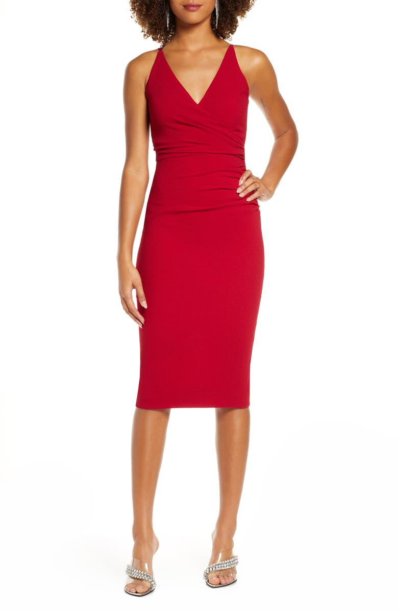 DRESS THE POPULATION Anita Crepe Cocktail Dress, Main, color, GARNET
