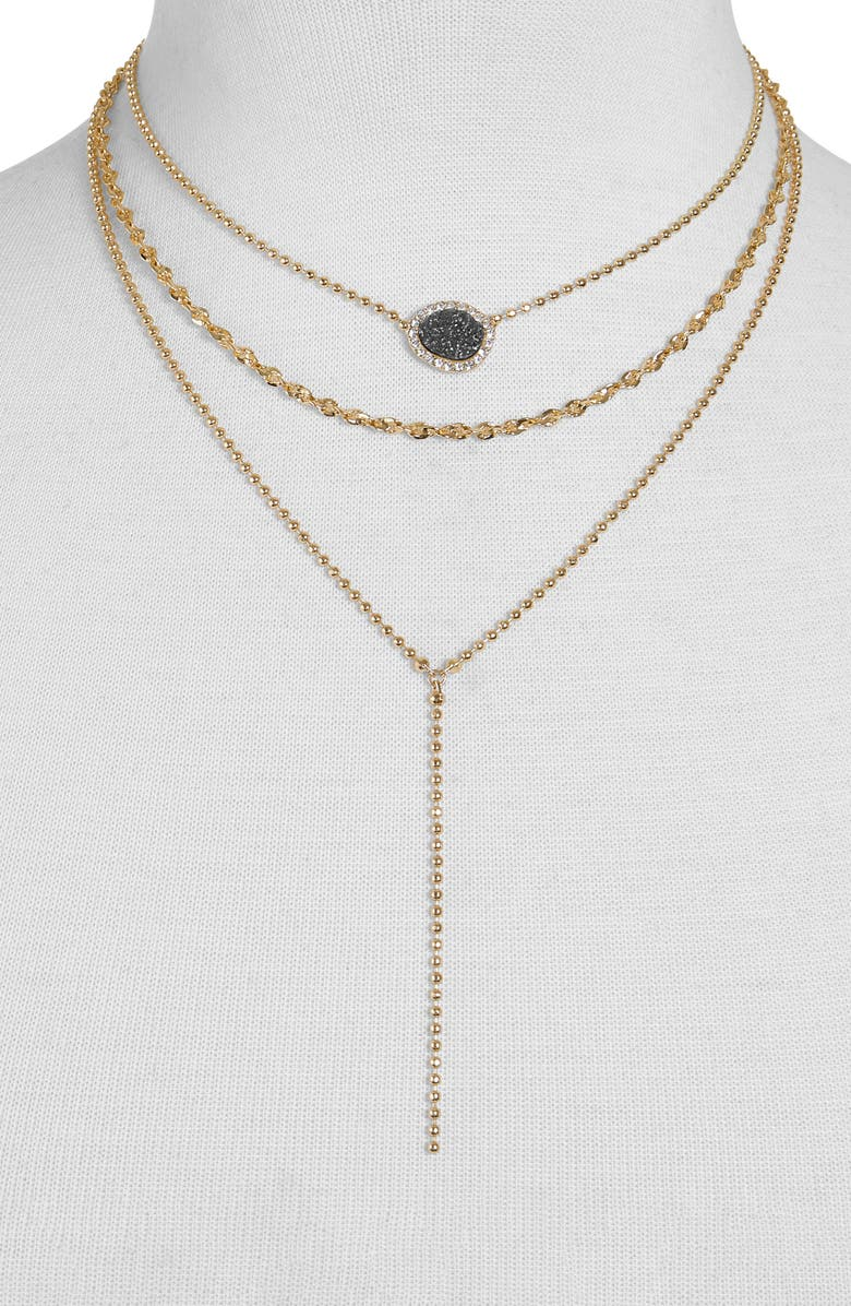 BAUBLEBAR Musia Drusy Layered Y-Necklace, Main, color, 005