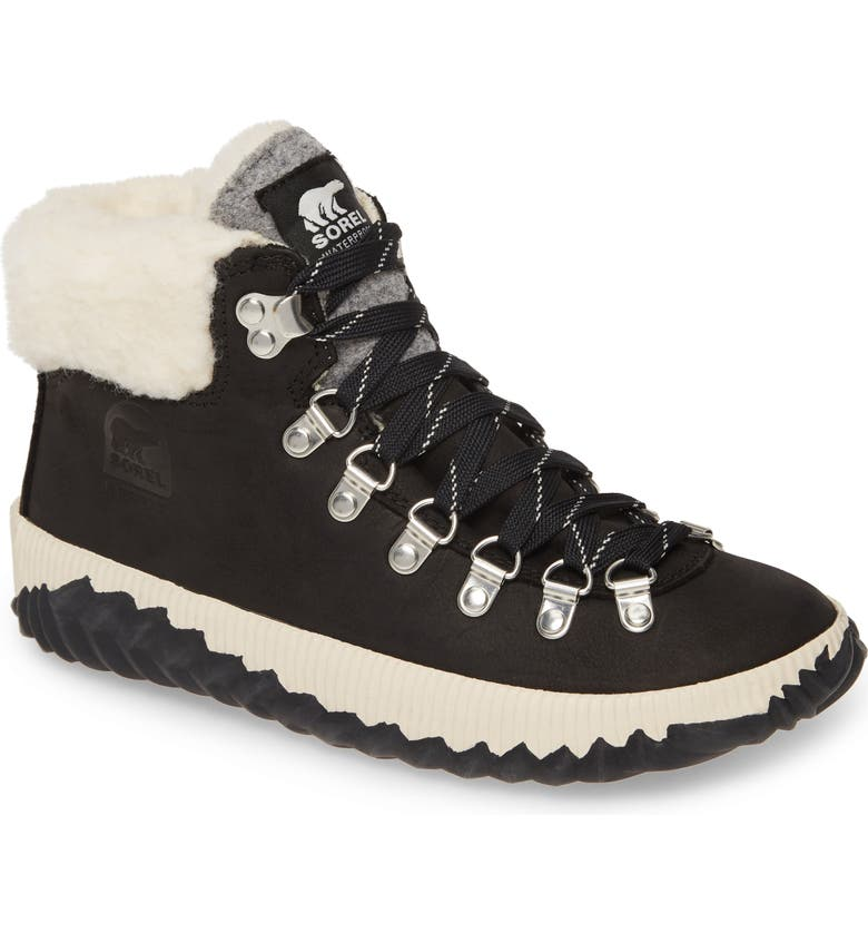 SOREL Out 'N About<sup>™</sup> Conquest Waterproof Bootie with Faux Fur Trim, Main, color, 010