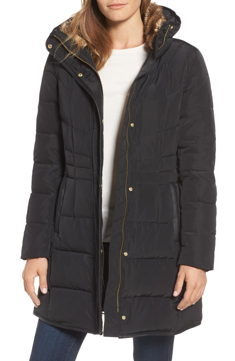 COLE HAAN SIGNATURE Cole Haan Quilted Down & Feather Fill Jacket with Faux Fur Trim, Main, color, 001