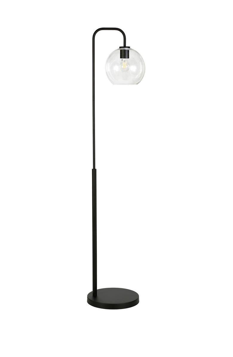 ADDISON AND LANE Harrison Blackened Bronze Arc Floor Lamp with Clear Glass Shade, Main, color, BLACK