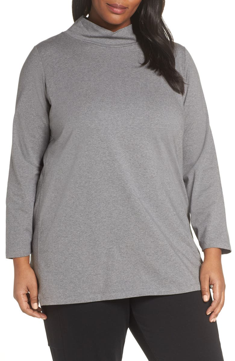 EILEEN FISHER Funnel Neck Tunic, Main, color, MOON