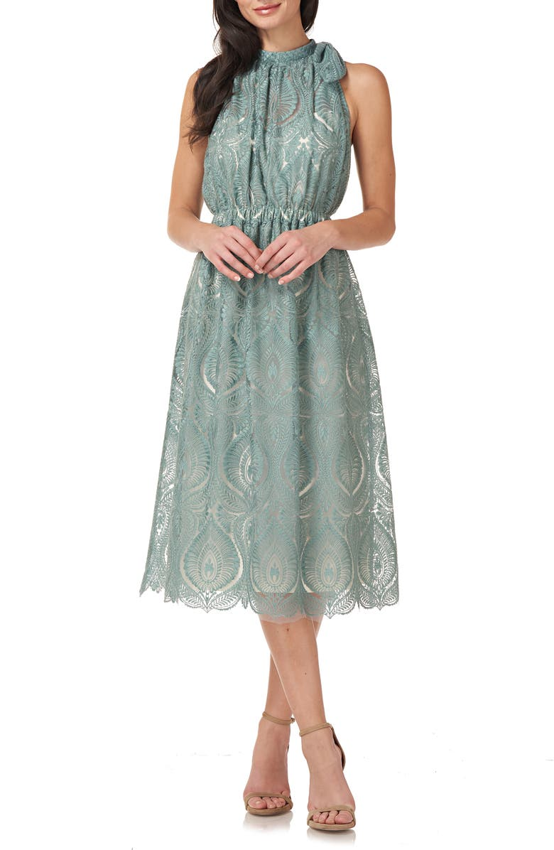 JS COLLECTIONS Embroidered Halter Neck Cocktail Midi Dress, Main, color, SAGE/ WHITE
