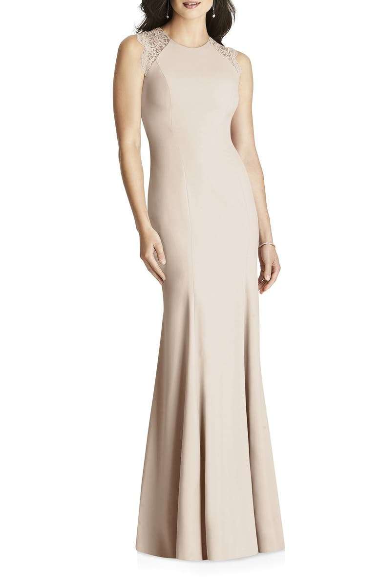 DESSY COLLECTION Lace Back Trumpet Gown, Main, color, 250
