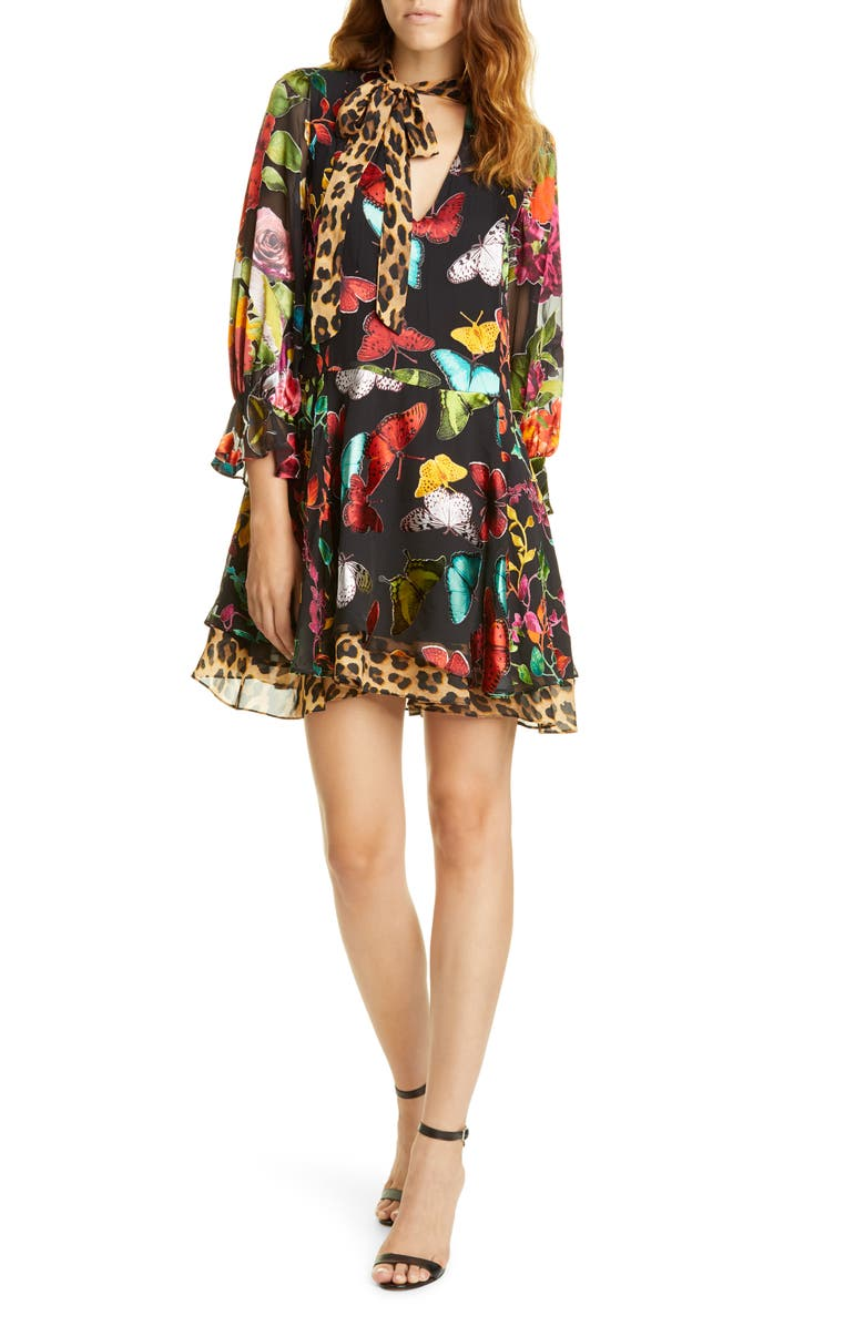 ALICE + OLIVIA Moore Layered Butterfly Burnout Minidress, Main, color, 001