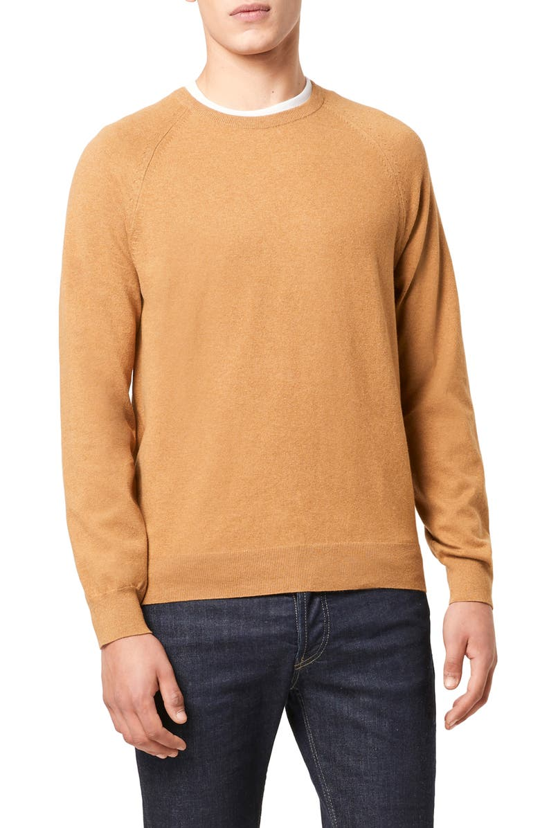 FRENCH CONNECTION Regular Fit Crewneck Sweater, Main, color, CAMEL MELANGE