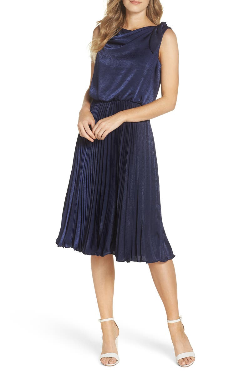 GAL MEETS GLAM COLLECTION Bethany Shimmer Satin Dress, Main, color, NAVY
