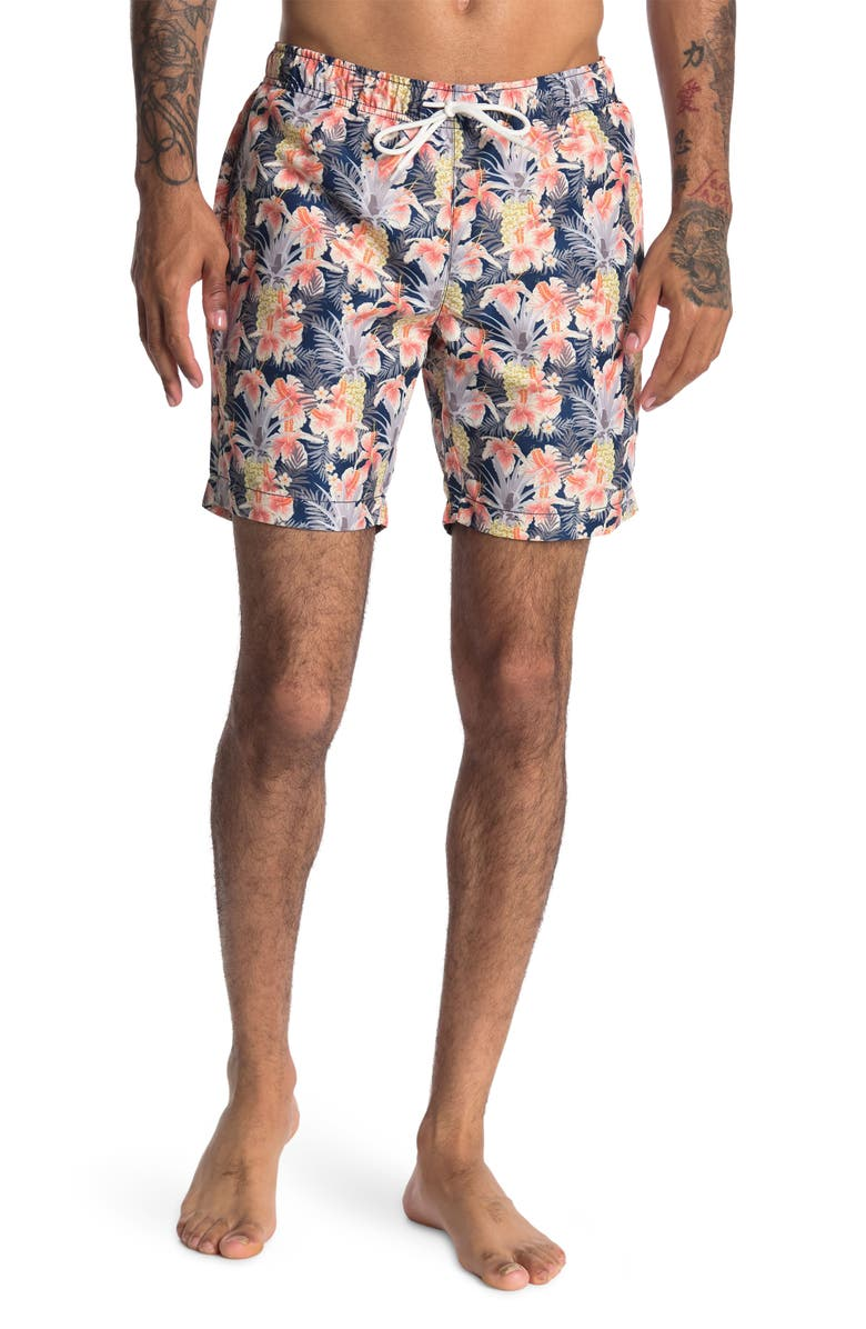 TALLIA Pineapple Floral Printed Swim Trunks, Main, color, NAVY/CORAL