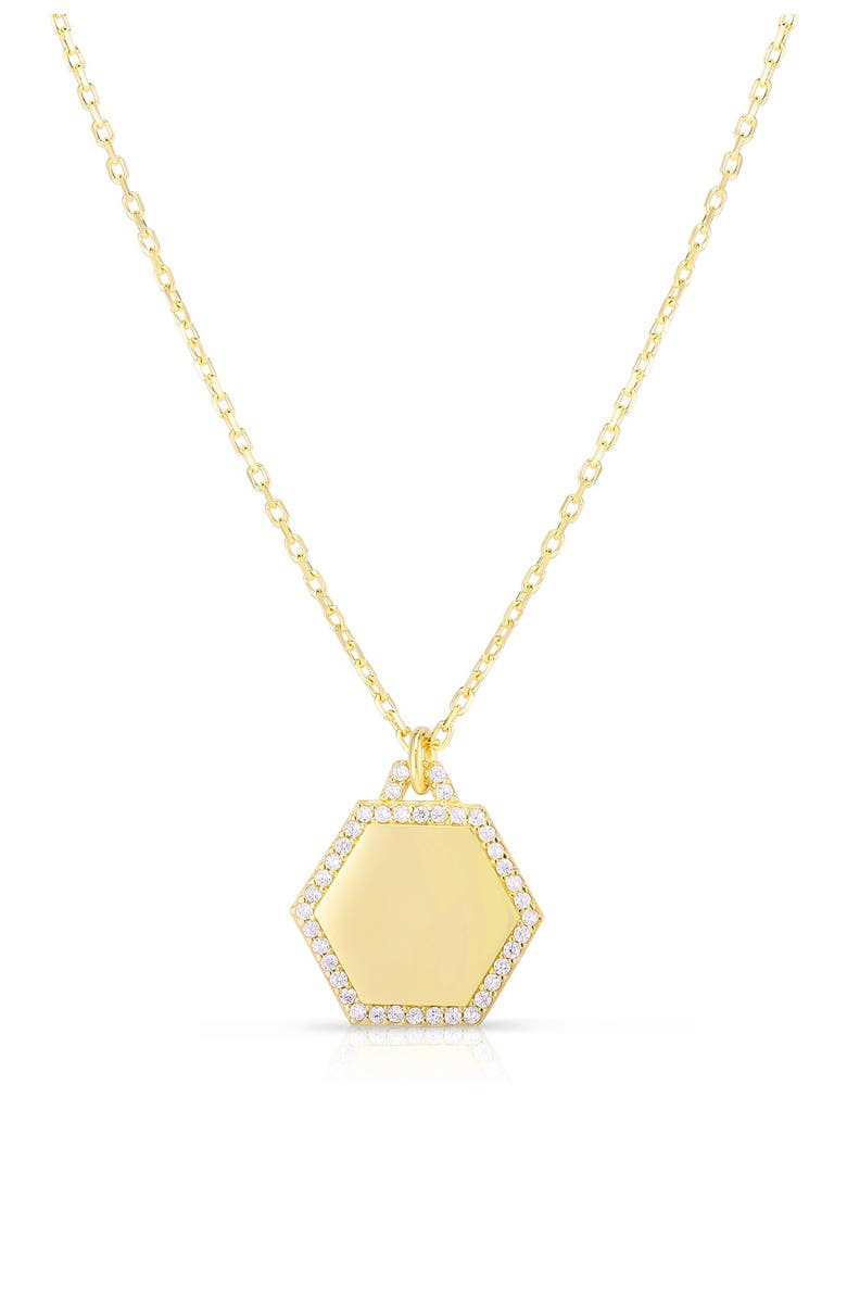 SPHERA MILANO 14K Yellow Gold Plated Sterling Silver Engravable Pave CZ Trim Charm Necklace, Main, color, YELLOW GOLD AND WHITE