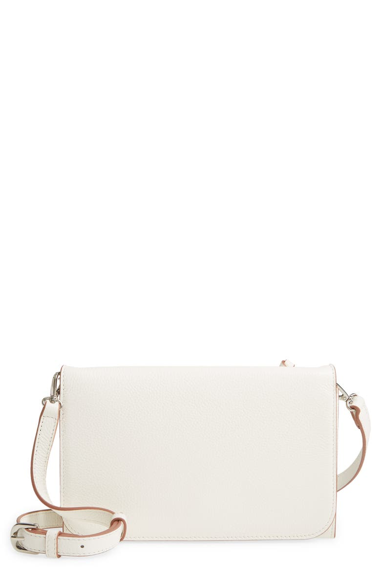 NORDSTROM Ronan Leather Crossbody Wallet, Main, color, WHITE SNOW