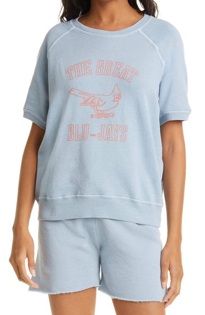 THE GREAT. The Short Sleeve College Sweatshirt, Main, color, POWDER BLUE