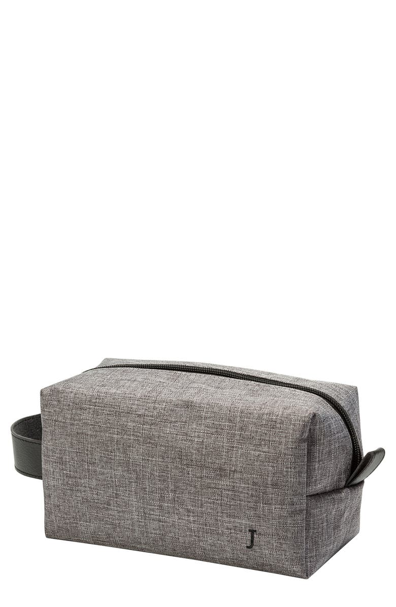 CATHY'S CONCEPTS Monogram Dopp Travel Kit, Main, color, GREY J