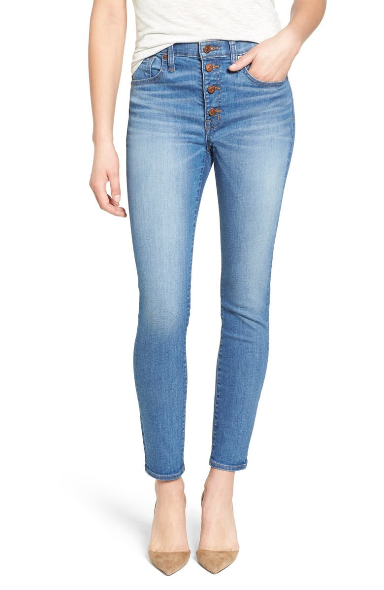 MADEWELL 'High Riser - Button Through' Crop Skinny Skinny Jeans, Main, color, 406