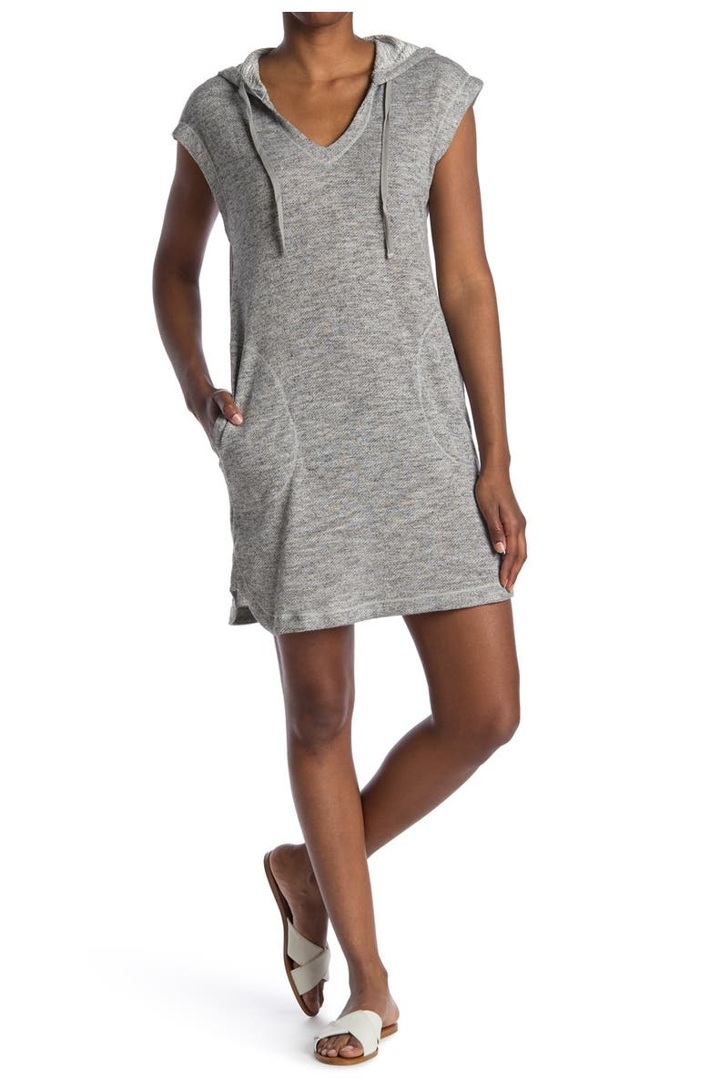 MAX STUDIO French Terry Short Sleeve Hooded Dress, Main, color, LTGREY-LIGHT GREY