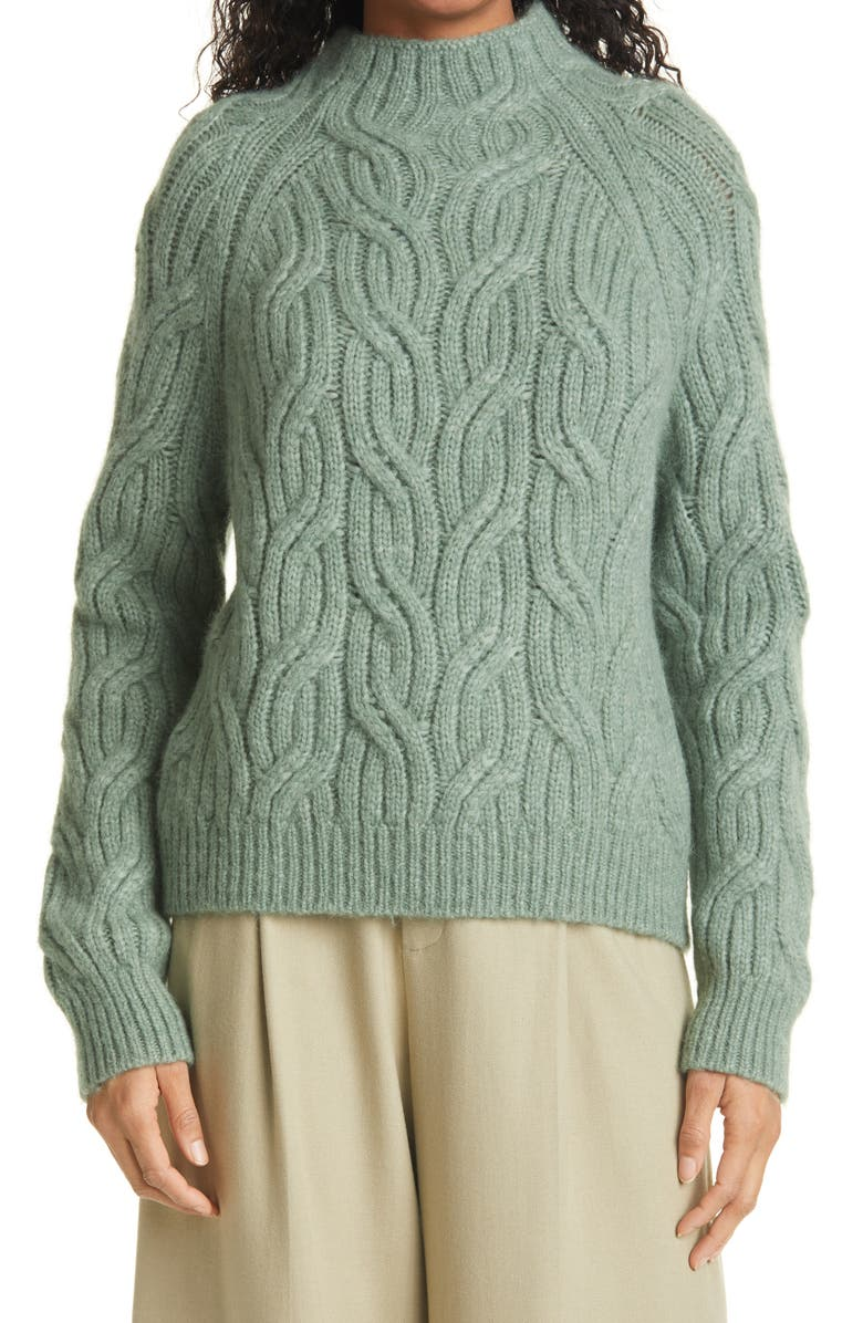 VINCE Twisted Chain Mock Neck Sweater, Main, color, HEATHER JADEITE