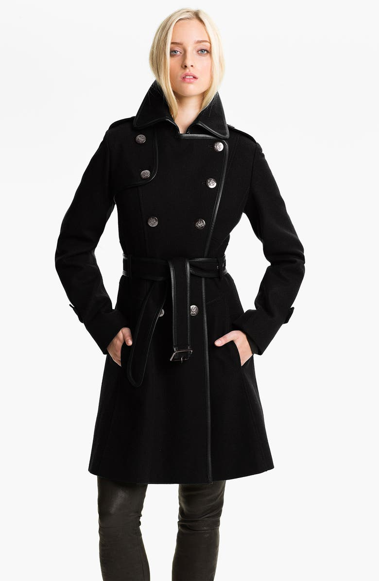 GUESS Double Breasted Wool Blend Coat, Main, color, Black