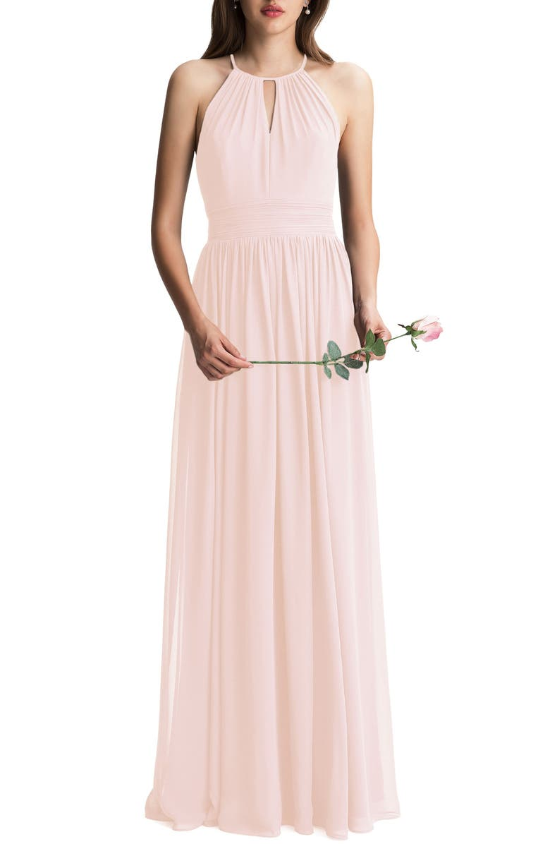 #LEVKOFF Keyhole Neck Chiffon A-Line Gown, Main, color, PETAL PINK