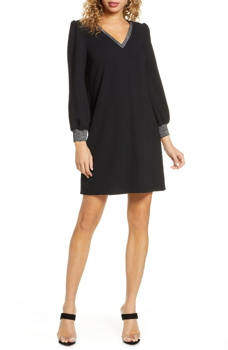 SAM EDELMAN Metallic Trim Long Sleeve Shift Dress, Main, color, 001