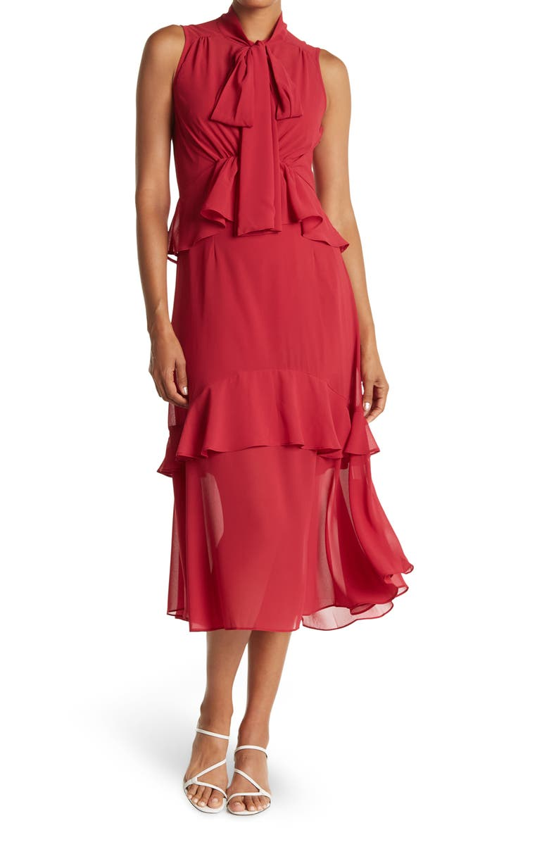 ONE ONE SIX Multi Ruffle Tie Neck Maxi Dress, Main, color, BERRY