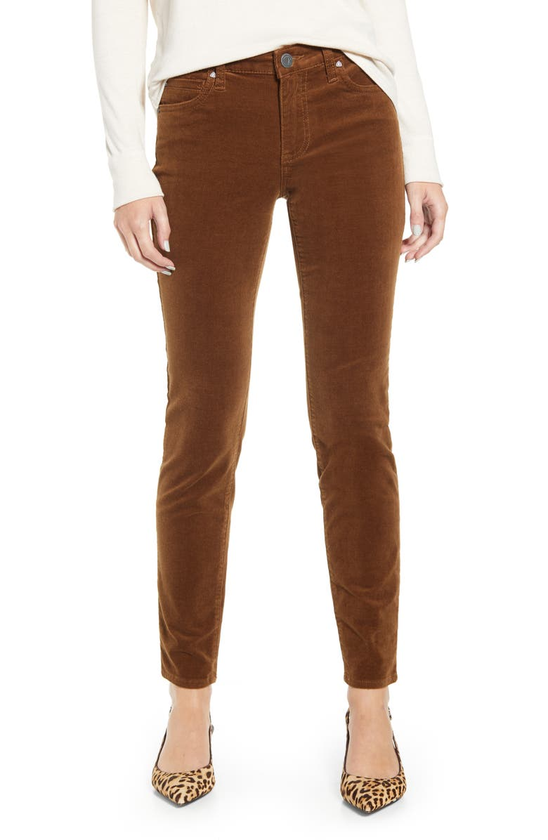 KUT FROM THE KLOTH Diana Stretch Corduroy Skinny Pants, Main, color, COGNAC 2