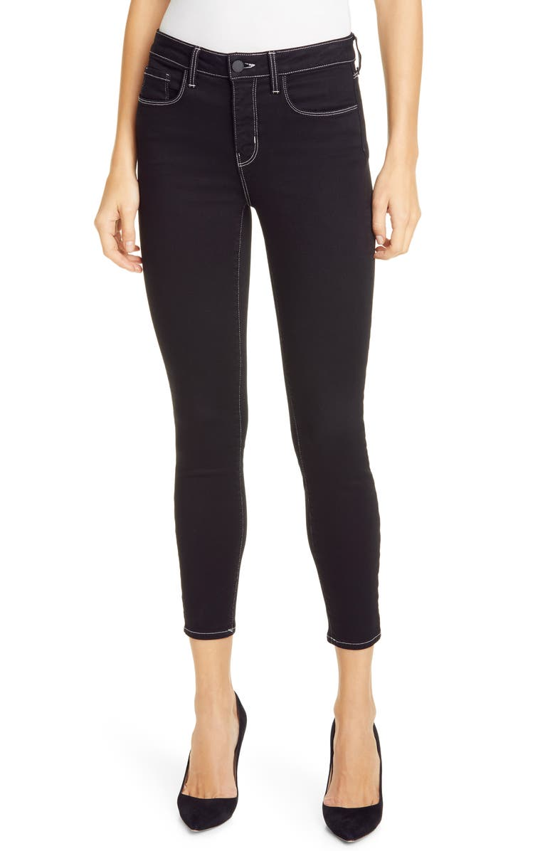 L'AGENCE Margot Contrast Stitch Crop Skinny Jeans, Main, color, 002