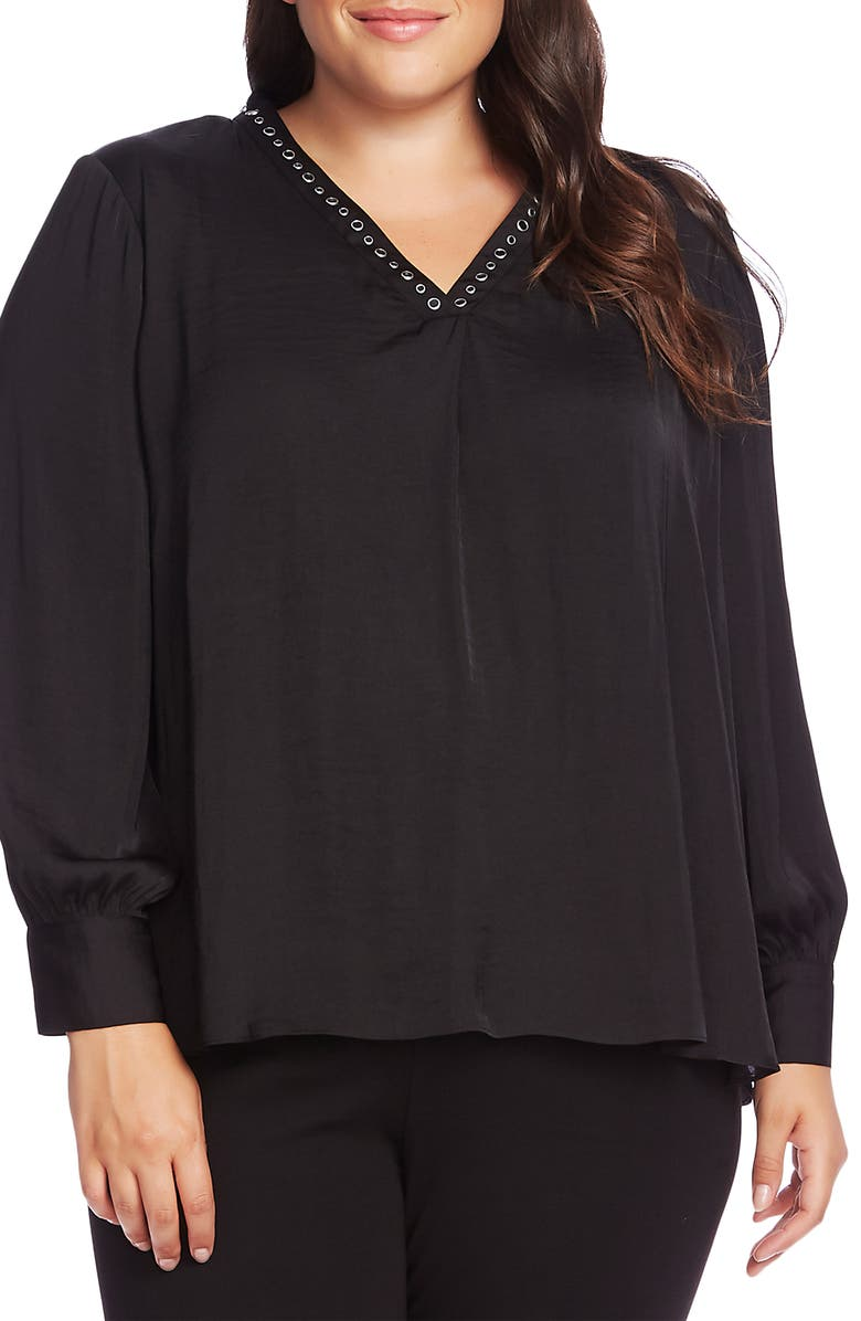 VINCE CAMUTO Studded Satin Top, Main, color, 001