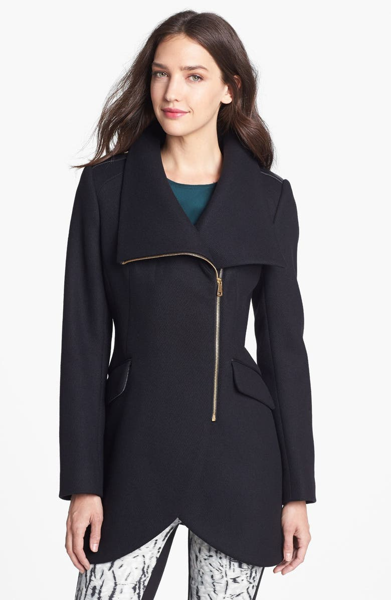 FRENCH CONNECTION Leather Trim Asymmetrical Cutaway Coat, Main, color, BLACK