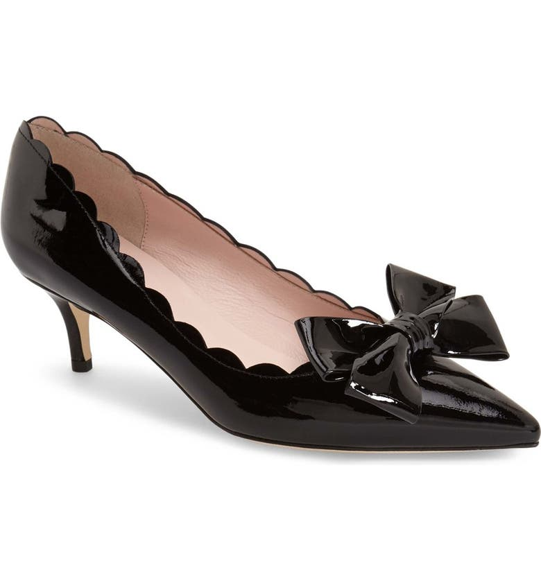 KATE SPADE NEW YORK 'maxine' scalloped bow patent pump, Main, color, 002