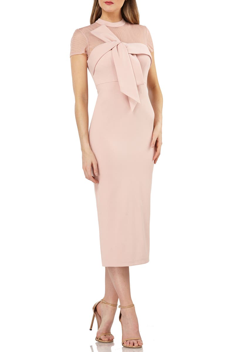 JS COLLECTIONS Bow Detail Midi Dress, Main, color, BLUSH