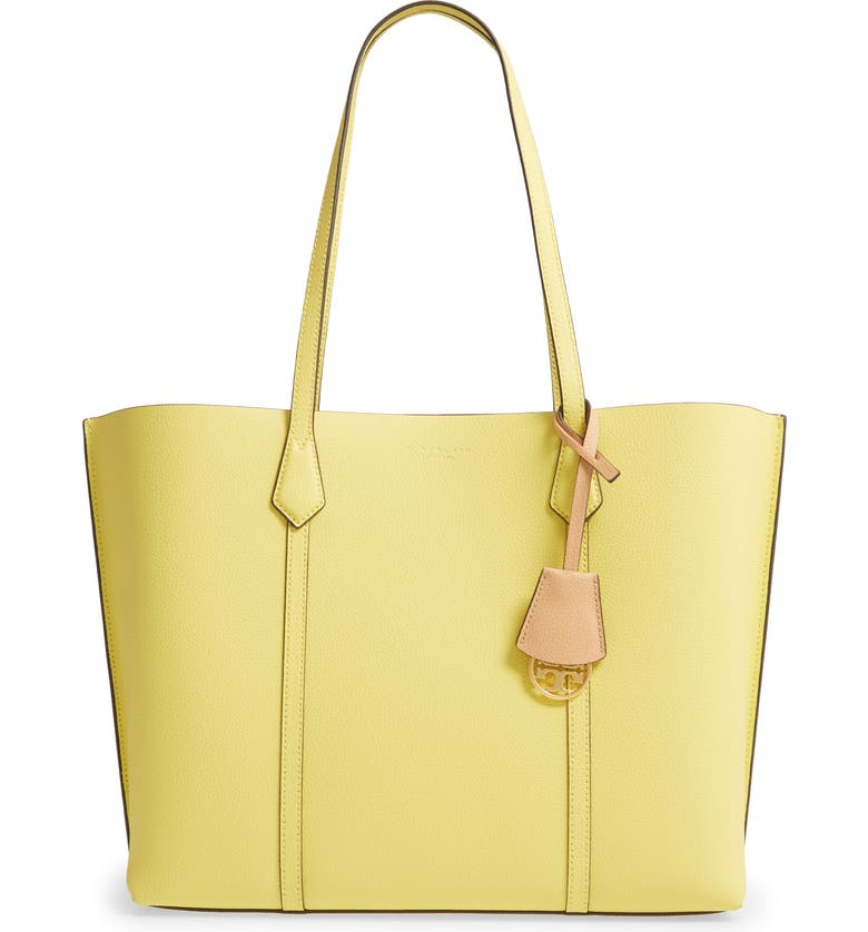 TORY BURCH Perry Leather Tote, Main, color, CALENDULA
