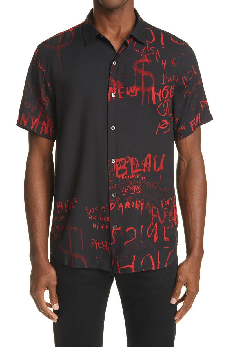 KSUBI Scribbles Short Sleeve Button-Up Shirt, Main, color, BLACK