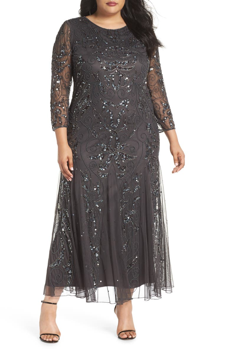 PISARRO NIGHTS Embellished Three Quarter Sleeve Gown, Main, color, 030
