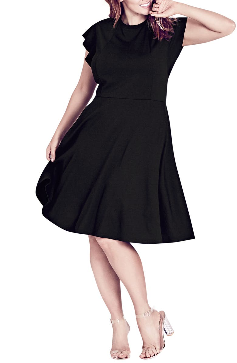 CITY CHIC Frill Sleeve Fit & Flare Dress, Main, color, Black