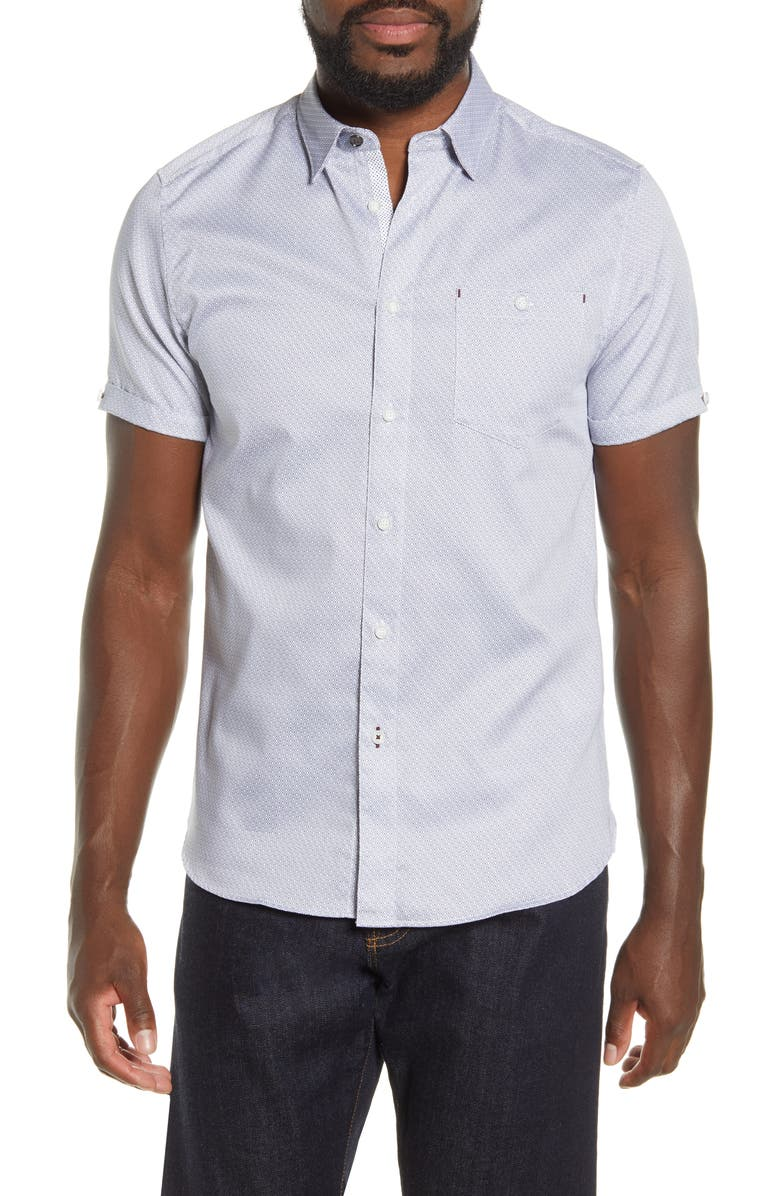 TED BAKER LONDON Slim Fit Geo Print Short Sleeve Button-Up Shirt, Main, color, 410