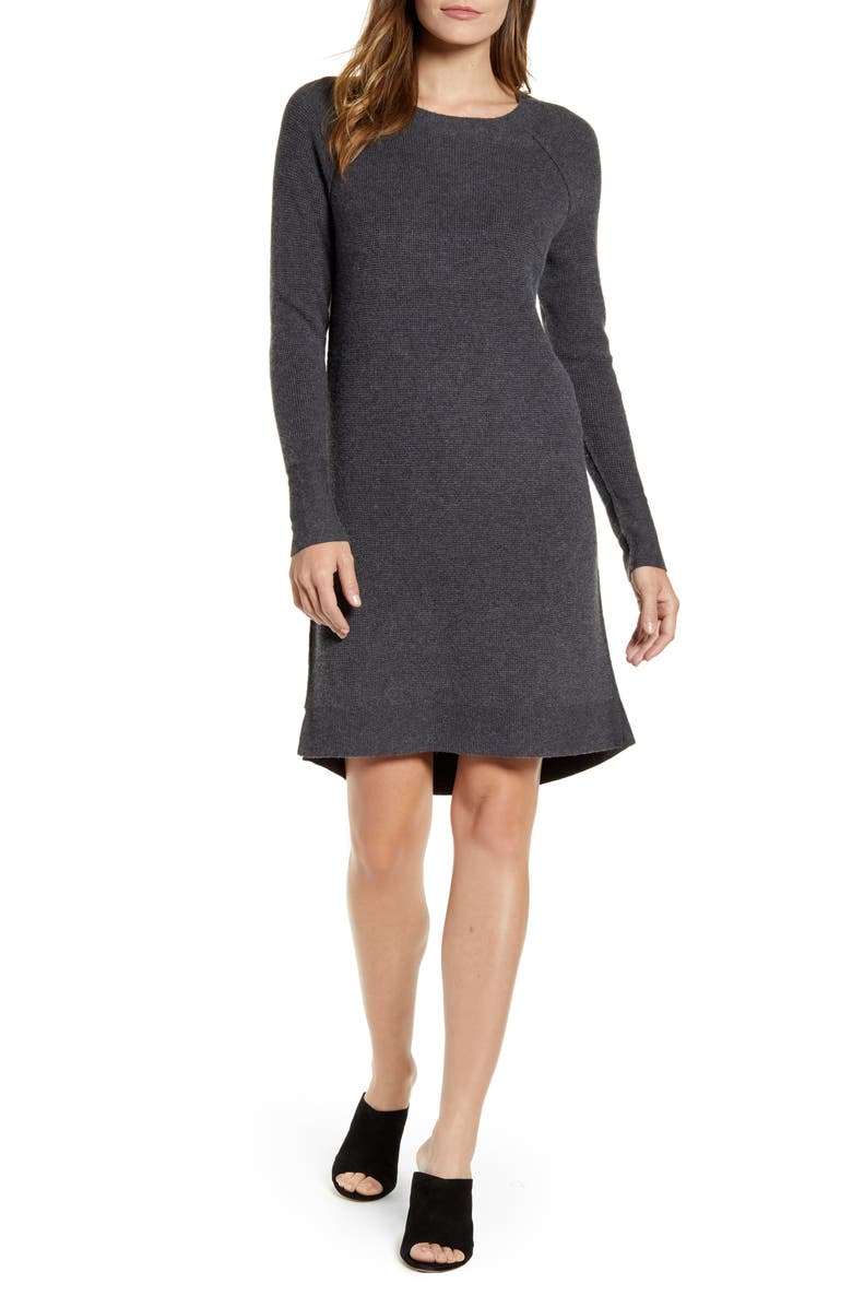CASLON<SUP>®</SUP> Long Sleeve Thermal Stitch Sweater Dress, Main, color, 021