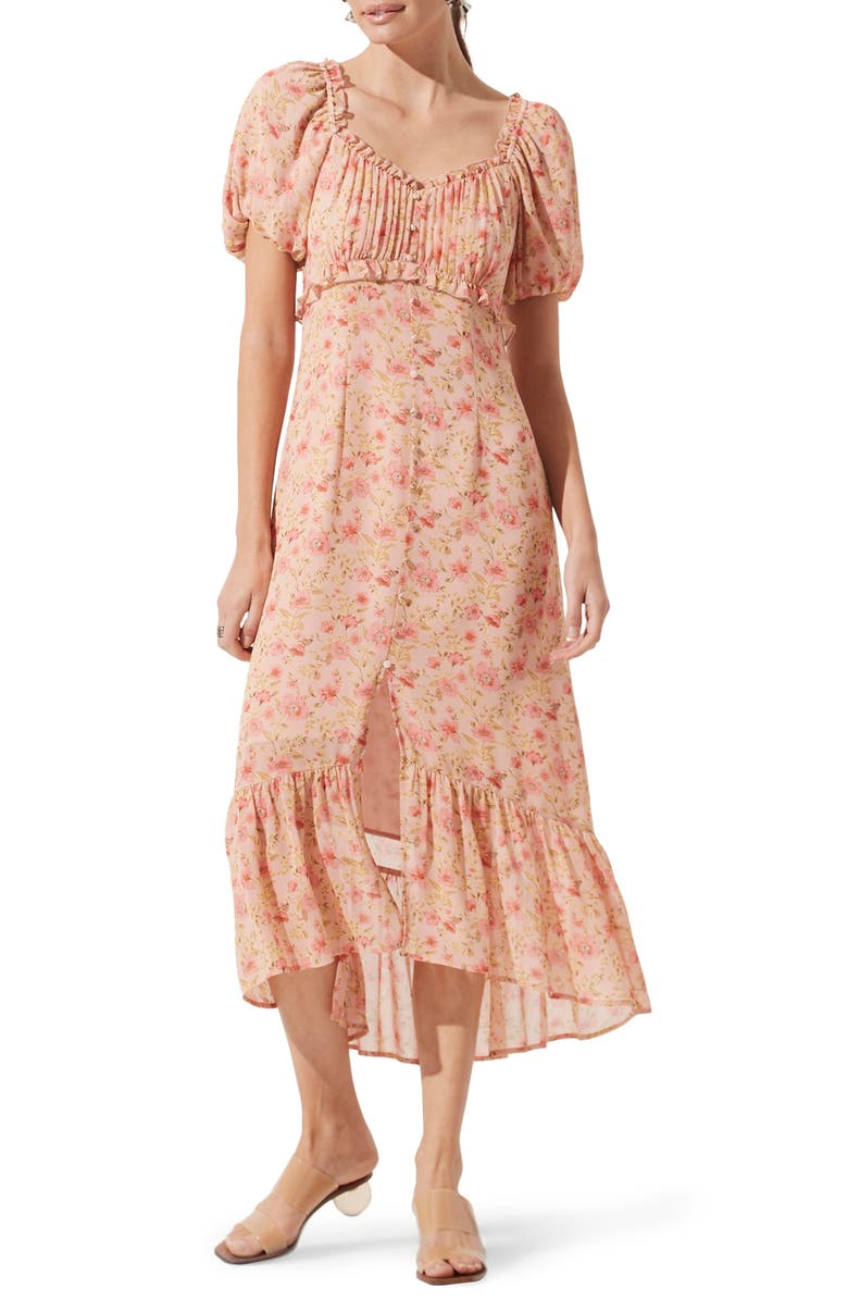 ASTR THE LABEL Balloon Sleeve Midi Dress, Main, color, BLUSH MULTI FLORAL