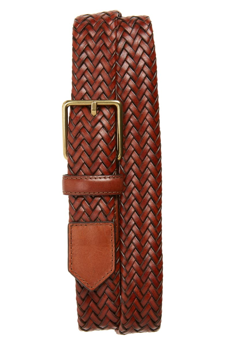 COLE HAAN Woven Leather Belt, Main, color, 200