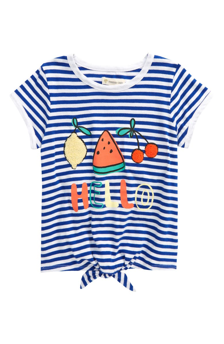 TUCKER + TATE Tie Front Graphic Tee, Main, color, WHITE- BLUE HELLO