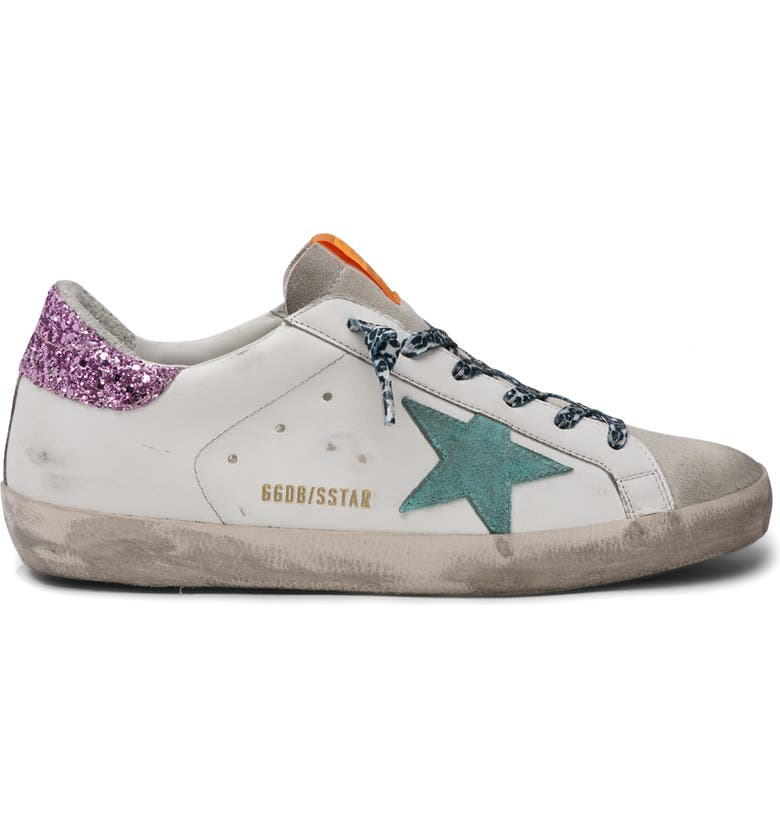 GOLDEN GOOSE Super-Star Low Top Sneaker, Main, color, ICE/ WHITE/ AQUA/ PINK