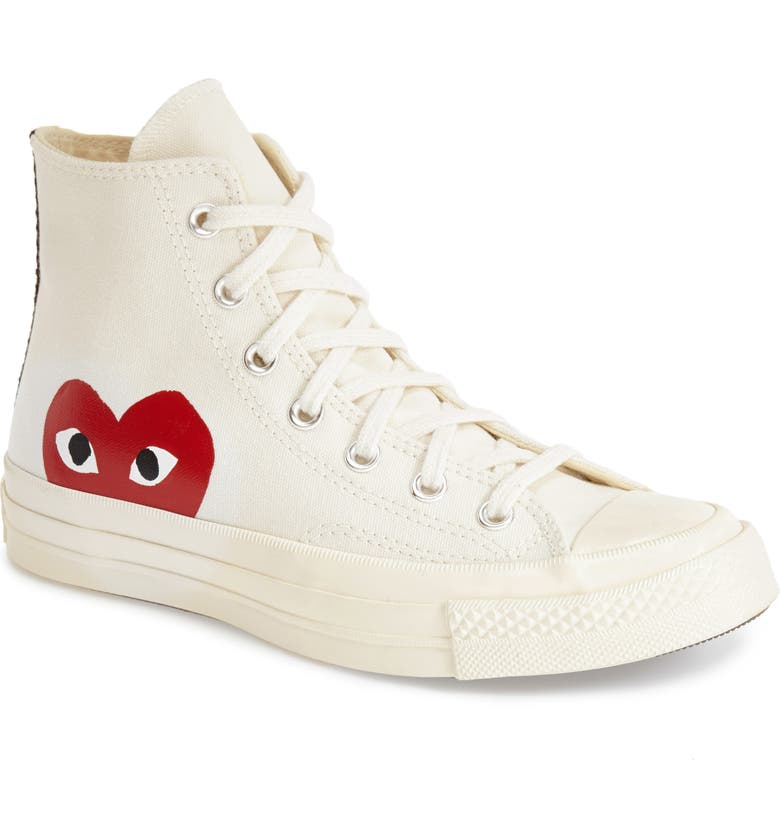 COMME DES GARÇONS PLAY x Converse Chuck Taylor<sup>®</sup> Hidden Heart High Top Sneaker, Main, color, BEIGE