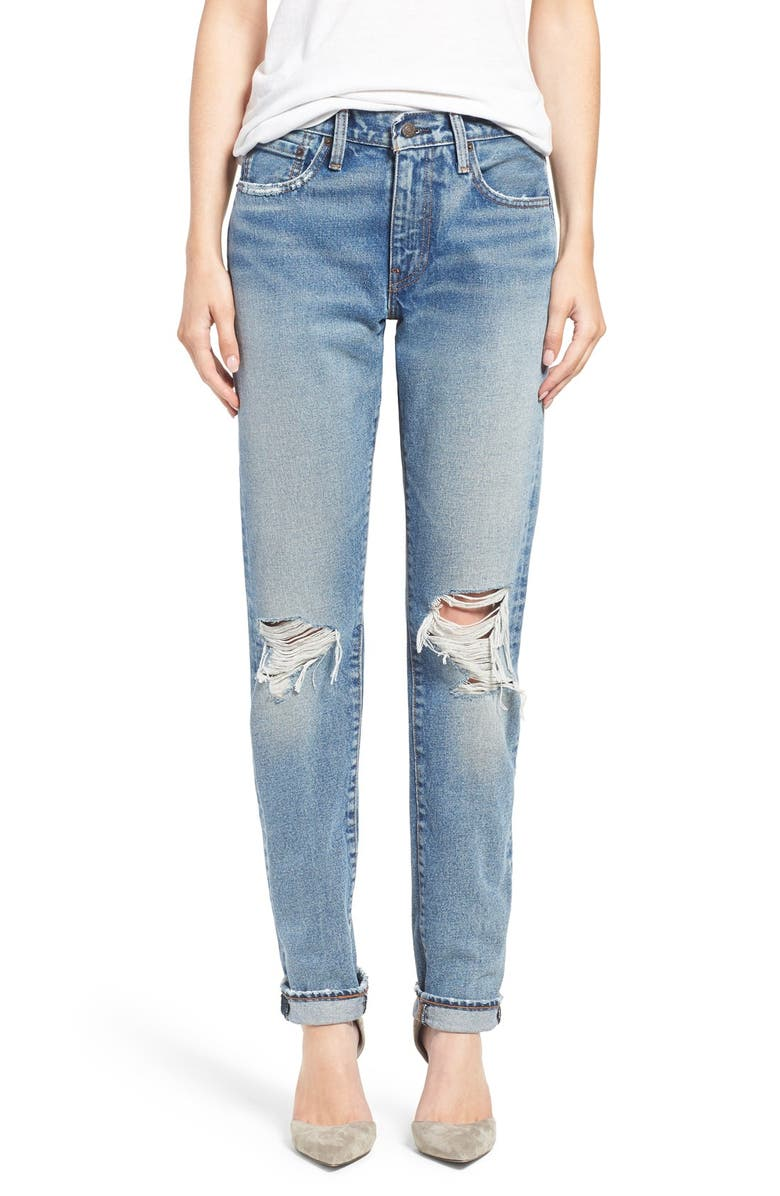 LEVI'S<SUP>®</SUP> '505C<sup>™</sup>' Ripped Straight Leg Jeans, Main, color, 400