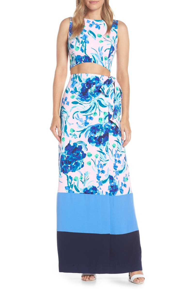 LILLY PULITZER<SUP>®</SUP> Jemma Crop Top & Maxi Wrap Skirt Set, Main, color, 696