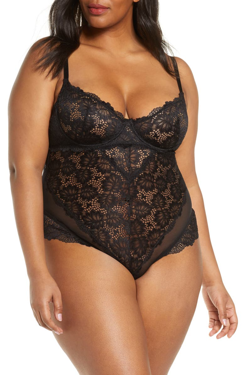 OH LA LA CHERI Lace Underwire Teddy, Main, color, BLACK