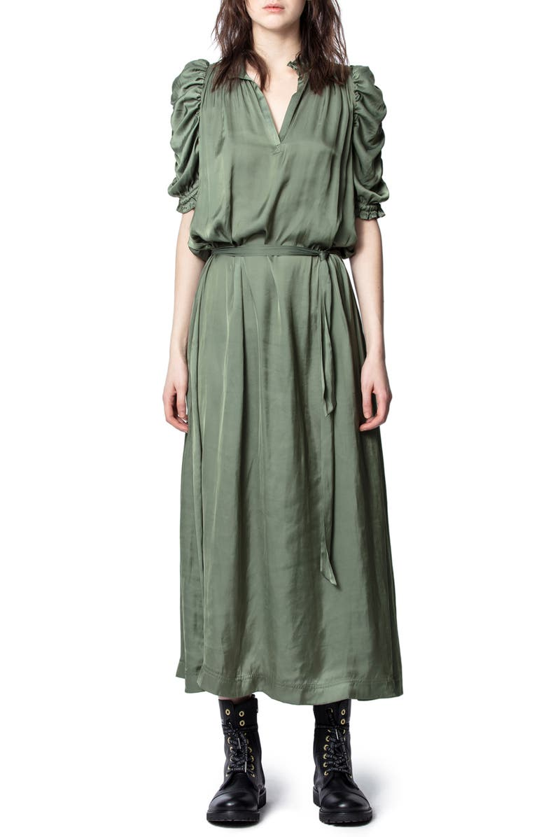 ZADIG & VOLTAIRE Ray Puff Sleeve Satin Dress, Main, color, 300