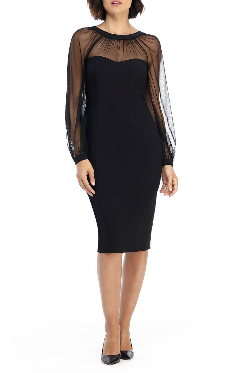 MAGGY LONDON Illusion Lace Long Sleeve Cocktail Dress, Main, color, BLACK
