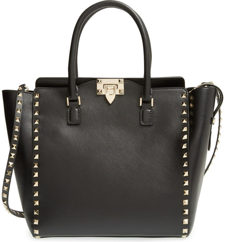 VALENTINO GARAVANI 'Rockstud' Leather Double Handle Tote, Main, color, 001