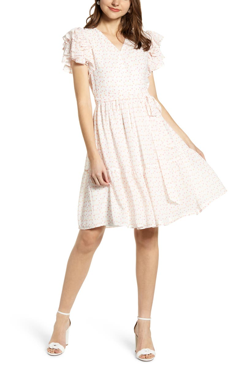 RACHEL PARCELL Tiered Ruffle Sleeve Dress, Main, color, 101