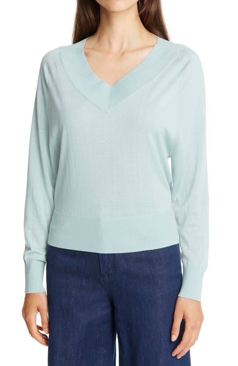 THEORY Deep V-Neck Sweater, Main, color, MINT