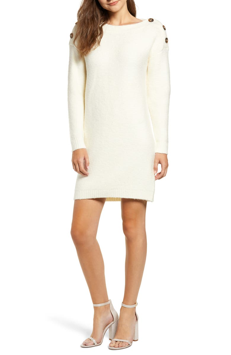 CHRISELLE LIM COLLECTION Chriselle Lim Sawyer Sweater Dress, Main, color, IVORY