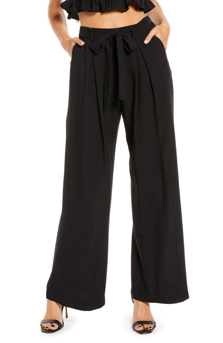 ENGLISH FACTORY Belted Wide Leg Pants, Main, color, 001